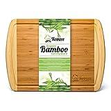 Planche à découper extra-large en Bambou 100% Bio - 44x32x1,9 - N'abîme pas vos couteaux de chef - Utilisable aussi comme plateau à fromages - Design élégant pour épater vos invités