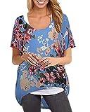 ZANZEA Camisetas Mujer Mangas Cortas Tallas Grandes Blusas Verano Manga Murciélago Flores Estampado Tops Casual Pullover Oversize 03-Cielo Azul L