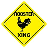 Rooster Crossing Sign Zoo Animal Chicken Farmer Funny Farm Gag Novelty