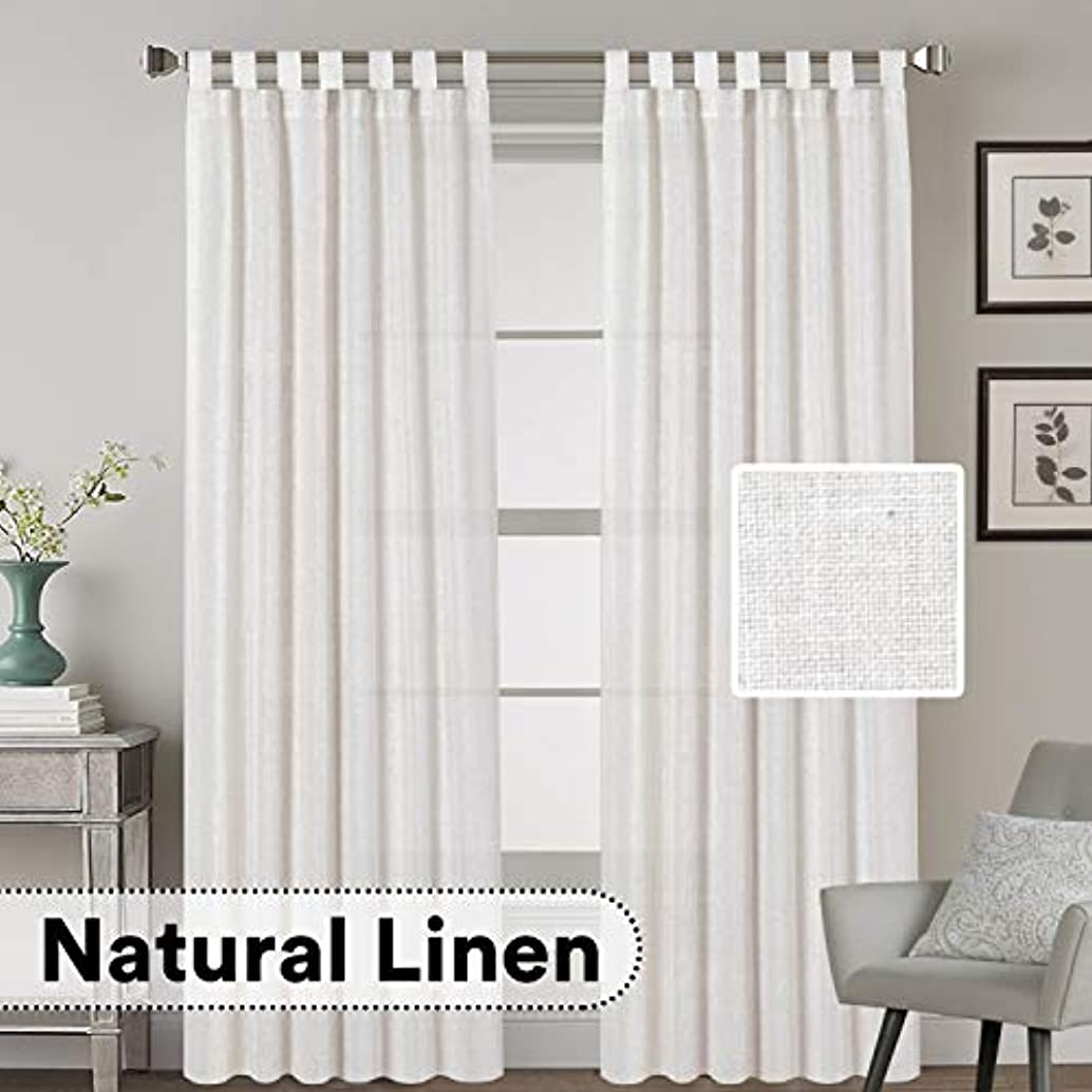 H.VERSAILTEX Elegant Natural Linen Blended Energy Efficient Light Filtering Curtains/Tab Top Curtains White Window Treatments Panels/Drapes for Livingroom (Set of 2, 52