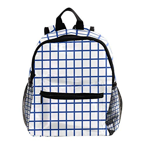 Cool Backpack Kids Sturdy Schoolbags Back to School Backpack for Boys Girls,Blue Grid Plaid Pattern