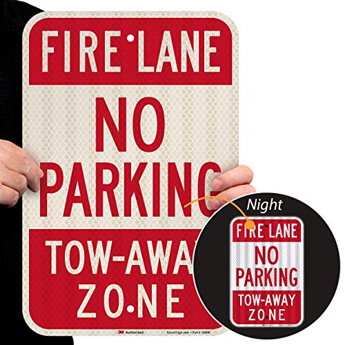"""SmartSign - T1-1063-HI_12x18 Fire Lane - No Parking, Tow-Away Zone Sign By 