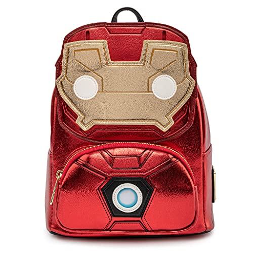 Loungefly x Marvel Iron Man Light Up Mini zaino in pelle metallizzata