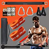 DASKING 500LBS Extra Heavy Home Gym Resistance Band Bar Set with 2 Resistance Bands Levels, Portable Full Body Workout Equipment Exercise Bar Kit,Workout Guide Included (Black)