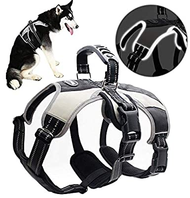 Large Secure Dog Harness - Escape-proof Reflective Dogs Vest with Lift Handle for Training Outdoor Adventures