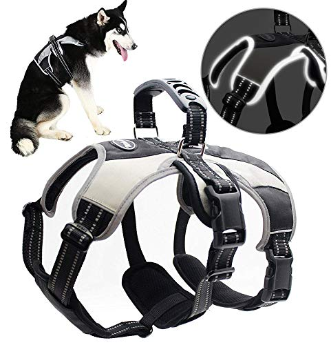 Mihachi Large Secure Dog Harness - Escape-Proof Reflective Dogs Vest with Lift Handle for Training Outdoor Adventures,L (27