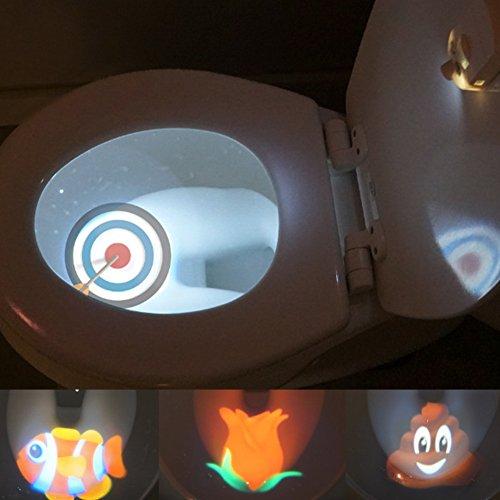 Toiletten-Nachtlicht, Bewegungsaktiviertes Toilettensitzlicht, 4 Farben, Bewegungs- und Lichtsensor, Aromatherapie und UV-Sterilisator, batteriebetriebene WC-LED Free Size weiß