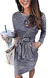 Smile Fish Damen Gestreiftes Elegant Kurzarm Midi Kleider Taschen Casual Bleistiftkleid mit Gürtel Gr. X-Small, Schwarz gestreift (langärmelig)
