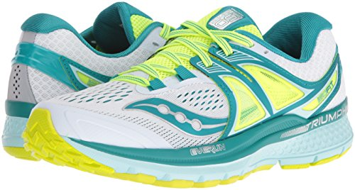 Saucony Women's Triumph ISO 3 Running Shoes, White Teal Citron, 5/5.5 UK