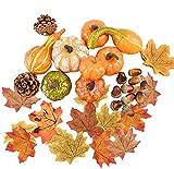 Homo Trends - 150 decoraciones de Halloween, 8 calabazas falsas de Halloween, 2 conos de pino, 10 piñones y 100 hojas falsas de arce para decoración de otoño, hogar, mesa