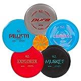 Latitude 64 Retro Disc Golf Starter Set | Frisbee Golf Set | Explorer Fairway Driver | Ballista Pro Distance Driver | Musket Fairway Golf Disc | Compass Midrange | Pure Putter (5 Disc Starter Set)