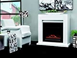 Casa Padrino Art Deco Electric Fireplace White W 102 x H 98 x D 39 cm - Electric Fireplace - Living Room Antique Style Fireplace