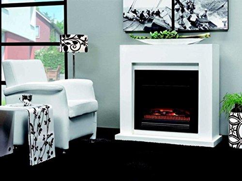 Casa Padrino Art Deco Elektro Kamin Weiß B 102 x H 98 x T 39 cm - Elektrokamin - Wohnzimmer Antik Stil Kamin