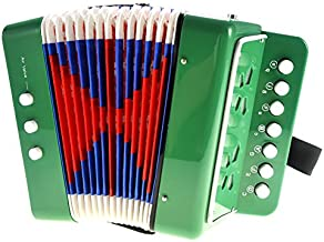PowerTRC Children's Accordion   Musical Instrument   Easy to Learn Music   Kids Instrument   Green