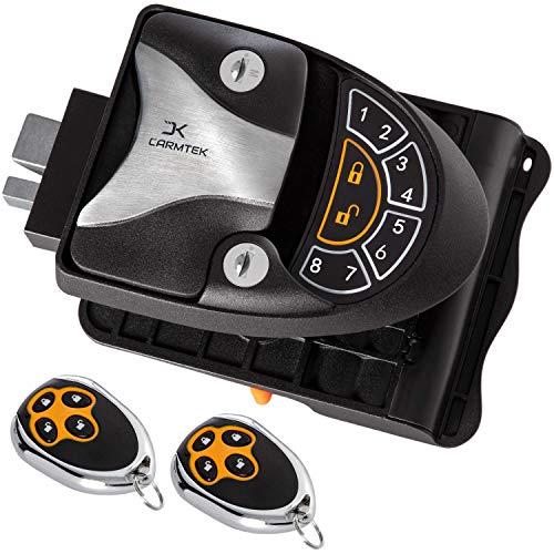 Carmtek - RV Keyless Entry Door Lock Latch Handle | RV Door Lock with Deadbolt, Keypad and Fob | Keyless RV Door Handle for Travel Trailer Camper, Made of Zinc Alloy (Back/Front)