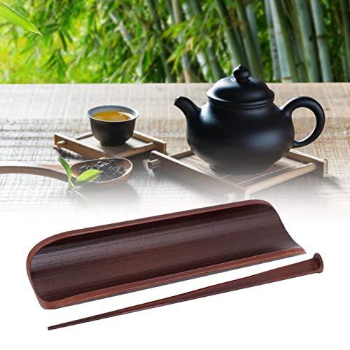 Emoshayoga Juego de té de bambú Natural Rojo Tostado de Dos Piezas Cuchara de té conservante Utensilios para Ceremonia de té Juego de Herramientas para Cocina para casa de té