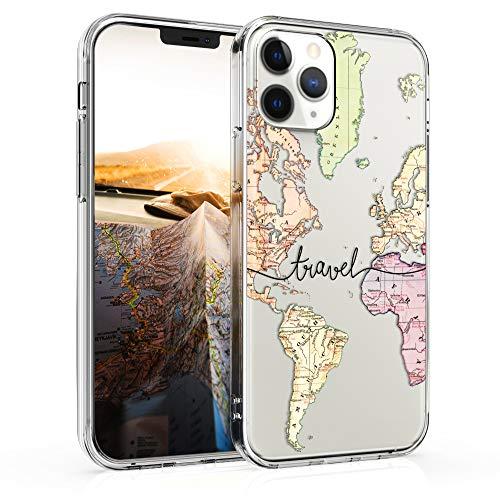 kwmobile Cover Compatibile con Apple iPhone 12/12 PRO - Custodia in Silicone TPU - Backcover Protettiva Cellulare Mappa del Mondo Nero/Multicolore/Trasparente