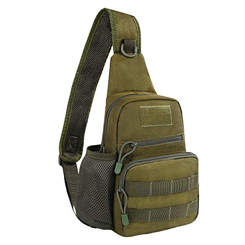 EDOBIL Tactical Bag, Messenger Bag Best Outdoor Sling Bag for Men and Women - Small One Military Bag for Trekking,Camping,Hiking,Cycling Rover Sling Daypack (Army Green)