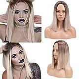 YMHPRIDE Ombre Blonde Peluca de Bob recta corta para mujer Moda Marrón oscuro Raíz Mixta Rubia Resistente al calor Peluca sintética larga recta de parte media 14 pulgadas