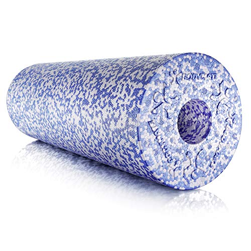 BODYMATE Faszienrolle Weich, Trainingsrolle zur Eigenmassage, Ganzkörper-Massagegerät für Einsteiger, mit glatter Oberfläche, inkl. eBook, 45 x 15 cm (L x Ø), in Blau/Weiß