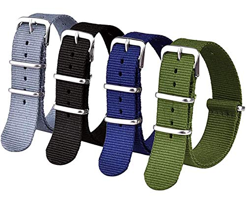 Ritche 20mm Nato Strap Nylon Watch Band Compatible with Timex Weekender Watch for Men Women (4 Packs)