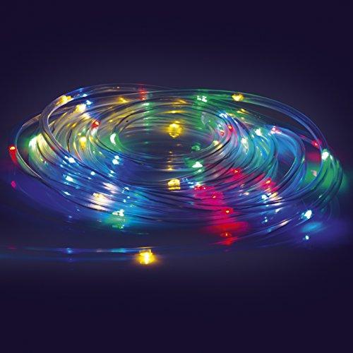 EASYmaxx 04449 LED-lichtslang | kleurverandering, 8 verlichtingsmodi | 5,5 meter | werkt op batterijen, spatwaterdicht (IP44), binnen & buiten | transparant