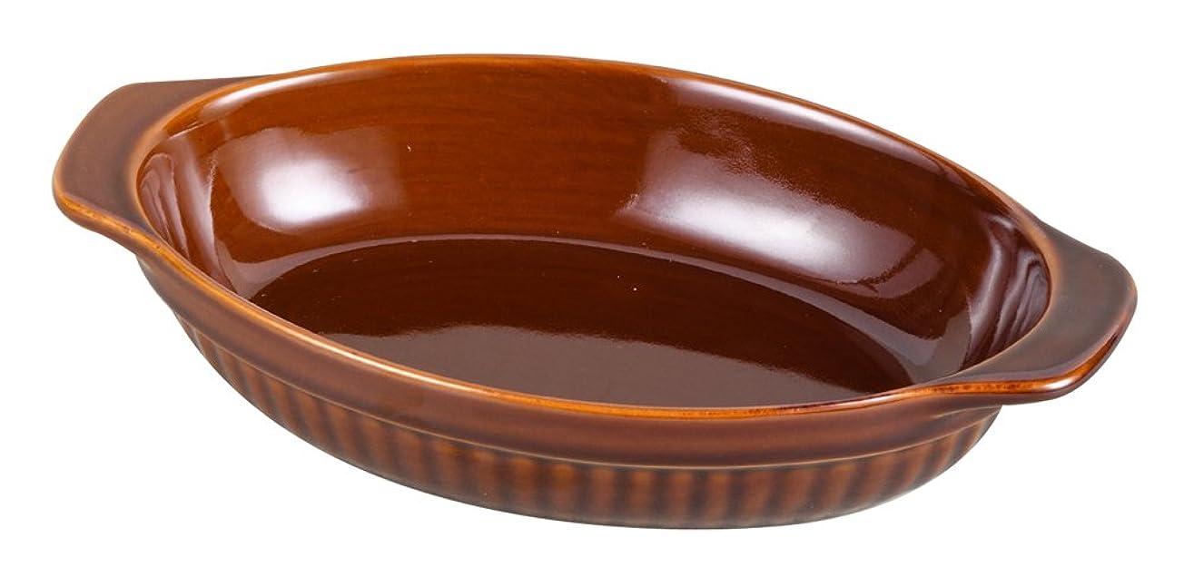 セラフシフト変換するパール金属 耐熱 深型オーバル皿 19×13cm ブラウン ファントゥクック L-1854