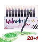KATELUO Brush Pen Lettering 20 Acquerelli Penne + 1 Pennello Acqua - Punta Flessibile Morbida a Pennello,Pennarelli Acquerellabili,Penna Stilografica per Lettering(21specie)