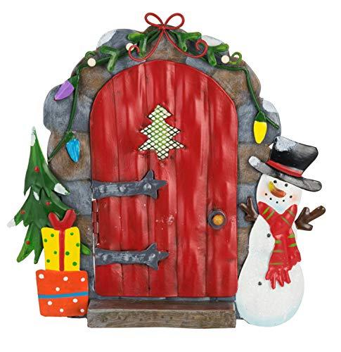 Fountasia Leuke Kerst Elf & Fee Rode Deur met Sneeuwman Metalen Tuin Ornament Perfect Voor Fee Tuinen
