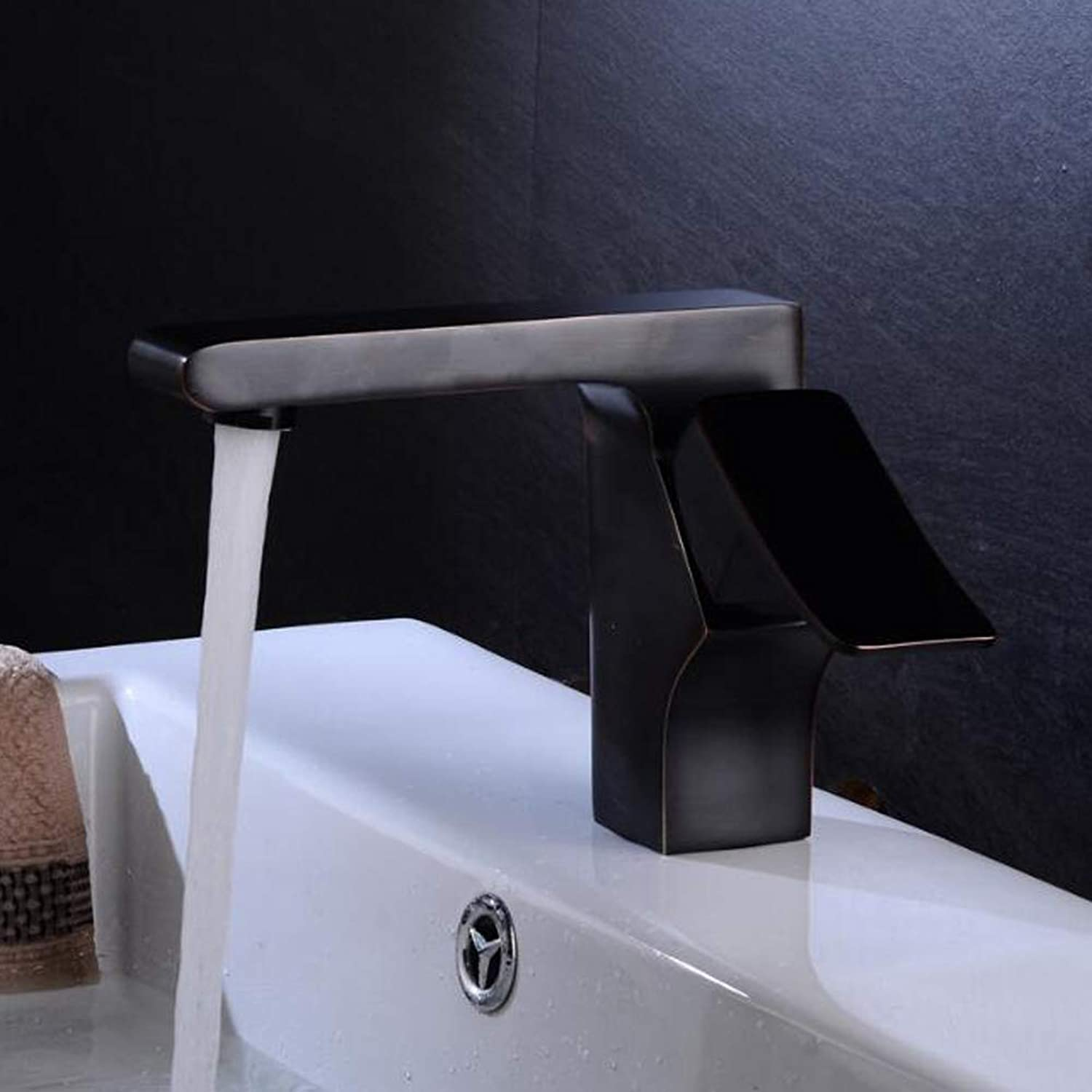 Flat Mouth Square Body Waterfall High Mixer Tap Above Bathroom Counter Basin Faucet Bathroom Sink Hot Cold All Brass Taps