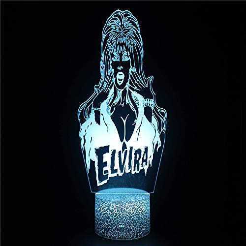 Cartoon Pretty Girl 3D Illusion Lights Lamp Ice Crack Base LED Table Desk Decor 7 Colors Touch Control USB Powered