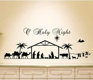Etiqueta de la pared de Navidad Inicio Sala de estar Decoración Etiqueta de la pared Noche Santa Belén Animal Hombres Silueta Vinilo Mural 21x57cm