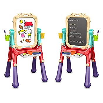 Arkmiido Toddler Magnetic Drawing Easel for KidsDouble Board Height Adjustable 360° Rotating  Your Baby's First Art Easel
