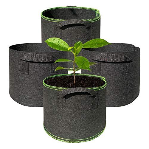 Dsaren 4 Pezzi Borsa Piante 5 Galloni Vaso Sacco per Piantare Grow Borse con Manici per Interno Esterno Balcone Giardinaggio (5 galloni)