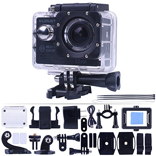 Kuman Action cam SJ7000 wifi Novatek 96655 Originale Version 12MP 2.0' LCD Full HD 1080p FHD Sport Impermeabile for Swimming Diving Bicycle Motorcycle Skiing, Aerial Photography MH23
