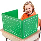 Really Good Stuff Plastic Privacy Shields for Student Desks – Set of 6 - Standard - Study Carrel Reduces Distractions - Keep Eyes from Wandering During Tests, Green with School Supplies Pattern