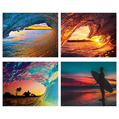 Works of Art Waves with Sunset Surfer-4 Picture Set of 8 x 10's- Art Image Print Ready to Frame. Modern Home Décor, Office Décor & Wall Prints for Beach, Ocean and Surfing Themes. Makes a Perfect Gift