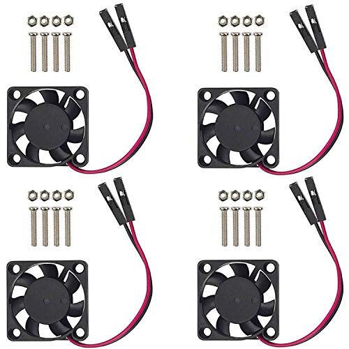 Raspberry Pi Fan, 4Pcs Raspberry Pi Cooling Fan Brushless CPU Cooling Fan Heatsink Cooler Radiator Connector Separating One-to-Two Interface 3.3V 5V for Raspberry Pi4 Pi3 B+, Pi 3, Pi 2, Pi 1 B+