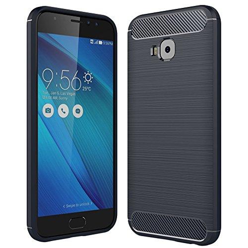 ebestStar - Asus Zenfone 4 Selfie Pro Hülle ZD552KL Kohlenstoff Design Schutzhülle, TPU Handyhülle Flex Silikon Case, Dunkelblau [Phone: 154 x 74.8 x 6.9mm, 5.5'']