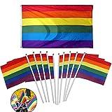 10PCS Banner Flaggen Regenbogen-Flagge Lebendige Farben Und UV-Lichtbeständige Rainbow Flag Doppelt Genähte Homosexuell Stolz-Fahne Flaggen Mit Freier Hand Kleine Fahnen Gehalten