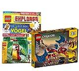 Collectix Lego Set Creator 31102 - Juego de cartas 3 en 1, diseño de dragón de bomberos y cuaderno Lego Explorer (misterio, conocimiento, plantillas para colorear, incluye bolsa de plástico 11949)