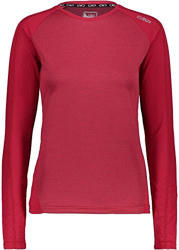 CMP T-Shirt Fonctionnel pour Femme avec Motif Camouflage Rouge élastique, 38L4356, 36