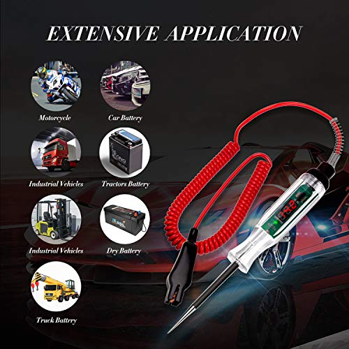 CGDI Upgraded Digital LED Automotive Circuit Tester, 3-32V Test Light with 96 Inch Extended Spring Wire, Vehicle Circuits Low Voltage Light Tester with Sharp Stainless Probe