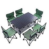 FUJGYLGL Ultraligero de Aluminio Que acampa Plegable Mesa Plegable portátil Enrollable con 6 sillas aptas for al Aire Libre, Camping, Picnic, Barbacoa, Parte, y Eventos
