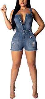 IyMoo Denim Romper Jean Shorts for Women - Womens High Waisted Shorts Sexy Sleeveless Bandage Jumpsuits Shorts with Pockets