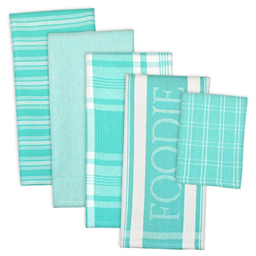 DII Assorted Decorative Kitchen Dish Towels & Dish Cloth Foodie Set, Ultra Absorbent for Washing and Drying (Towels 18x28 & Cloths 13x13) Aqua, Set of 5