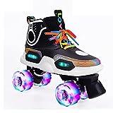 Tmpty Patines para niñas niños de 6 a 12 años de doble fila LED patines intermitentes (tamaño 30)