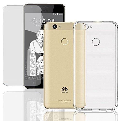 Eximmobile Silikon Hülle + Panzerfolie kompatibel mit HTC One A9 Handyhülle mit 9H Echt Glasfolie Schutzhülle mit Schutzfolie Handytasche Silikonhülle Tasche Bildschirmschutzfolie Bildschirmschutz