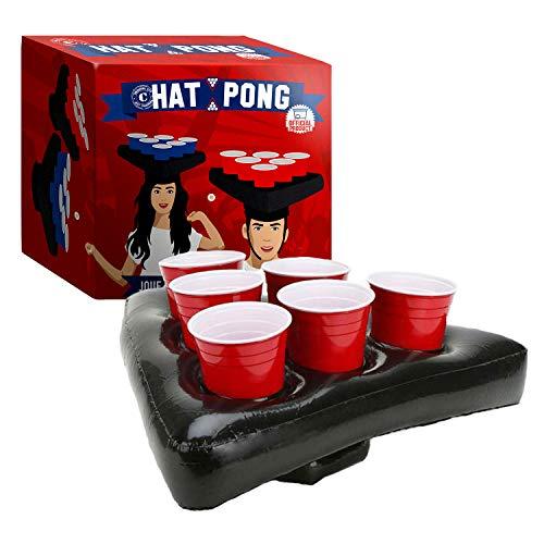 Sombrero Pong Oficial Original  Juego de Beer Pong Original 2 Gorros inflables  12 Tazas Rojas  2 Bolas  Juego de Beber  Juego de Fiesta  Fiesta en la casa  OriginalCup®