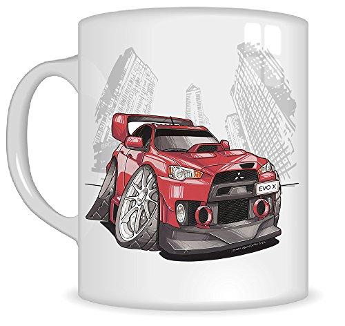 Koolart Gifts K3182-MG Cartoon of Mitsubishi EVO X FQ - Caricature Red Mitsubishi Mug Gift for Men ( Mugs)